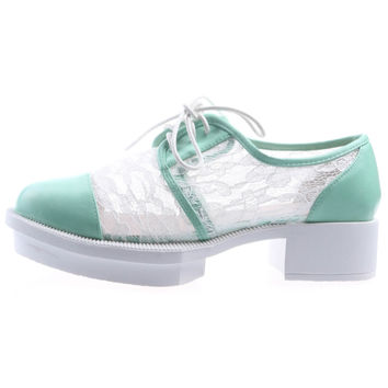 Mint Brogues with Lace Insert