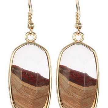 Marbled Two Tone Oval Earrings - 3 Colors