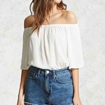 Off-the-Shoulder Gauze Top