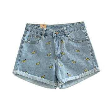 Korean version of the summer and banana flower embroidery cotton curling shorts