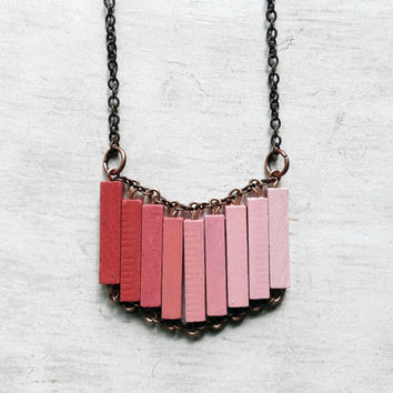 Wood Geometric Necklace // MY JAPANESE GARDEN // Minimal Jewelry // Coral Pink Salmon Hand-Painted Necklace // Modern Necklaces