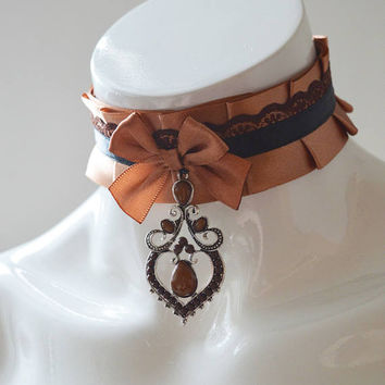 Steampunk satin choker - Steam lady - brown and beige costume cosplay choker with brown bow and pendant - steam punk goth necklace collar