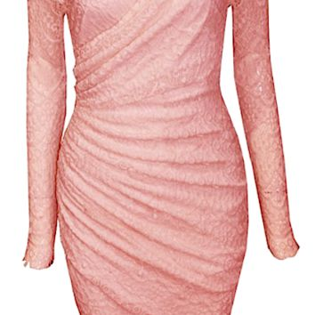Eliza Lace Off Shoulder Dress - Pink