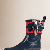House Check Detail Colour Block Rain Boots