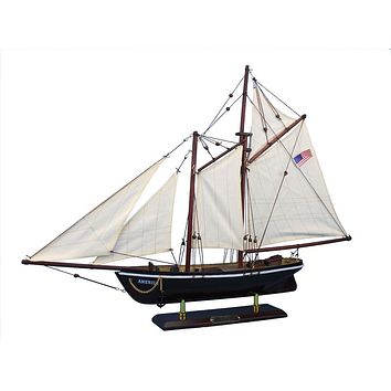 Wooden America Model Sailboat Decoration 24""