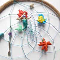 Ariel the Little Mermaid Dream Catcher/ Beige suede, large ring