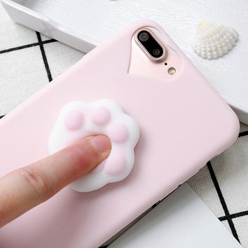 For iPhone 5S Case Lovely 3D Silicone Cartoon Cute Cat Paw Sea Lion Soft TPU Squishy Phone Case For iPhone X 6 6S 7 7 8 Plus 10
