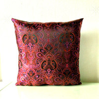 Purple Red & Black Metallic Decorative Embroidered Chinese Silk Brocade Cushion Cover 16x16 or 18x18 inches