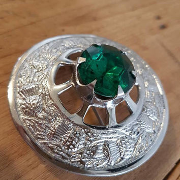 Huge Vintage Scottish Thistle Kilt Pin Sash pin Brooch Green Emerald Glass Crystal Unisex Vintage Jewellery And Accessories