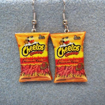 Cheetos Flamin Hot Kitsch Dangle Polymer Clay Junk by craftymule