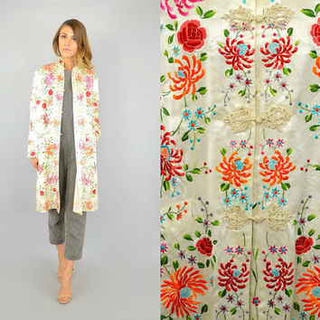 40's Hand Embroidered BOTANICAL floral Chrysanthemum CHINESE Silk cocktail evening JACKET, medium-large