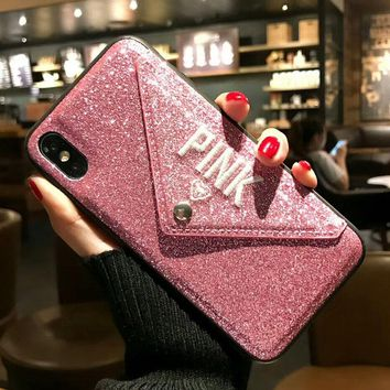 Luxury PINK Brand Glitter Embroidery Leather Victoria Hot Cute Pink Case for iPhone 7 Plus 7+ 8 Plus 6 6s Plus X Phone Secret