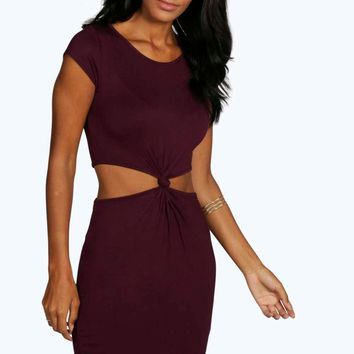Kelly Cutout Side Cap Sleeve Knot Dress