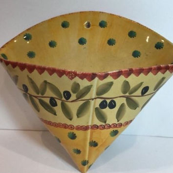 ITA-LICA ARS Wall Sconce HandPainted Pottery Olives On Branch Gold Made In Italy