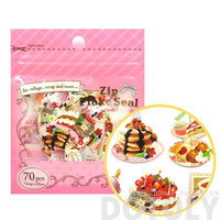 Pancakes Ice Cream Sweets Shaped Food Themed Sticker Flake Seal Pack From Japan | 70 Pieces | Cute Scrapbook Supplies
