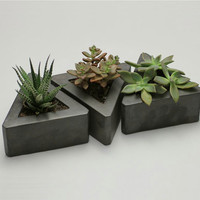 Triangle Concrete Pot - set of 3