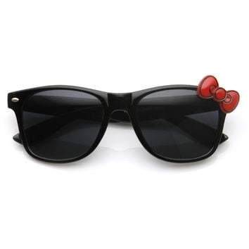 Novelty Cute Hello Kitty Bow Horned Rim Sunglasses 8728