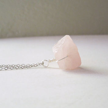 Raw Rose Quartz Necklace - Natural Pink Rose Quartz Nugget Necklace Silver Chain stone NO.10