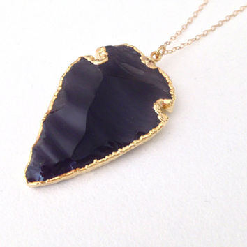 Gold Dipped Black Obsidian Arrowhead Necklace- 24k Gold Dipped Obsidian Arrowhead Charm on a 14k Gold Fill Chain