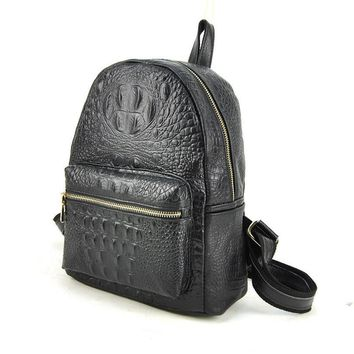 Women Genuine Real Cow Leather Backpack Shoulder Bag Crocodile Alligator School Book Travel Daily Casual Punk Rock Vintage Retro