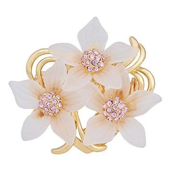 OBONNIE Women Gold Tone Crystal Frosted Lily Flower Scarves Clips Ribbon Scarf Buckle Wrap Holder Brooch