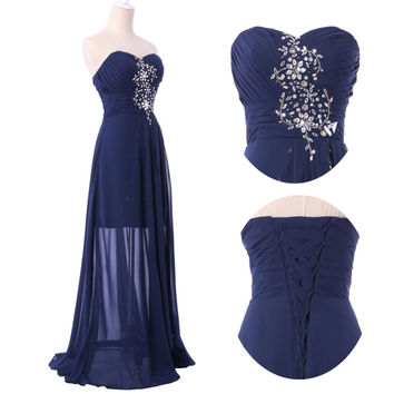 Peacock Long Formal Evening Party Ball Gown Dress Prom Bridesmaid Wedding Dress