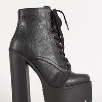 Lace Up Chunky Platform Lug Sole Bootie