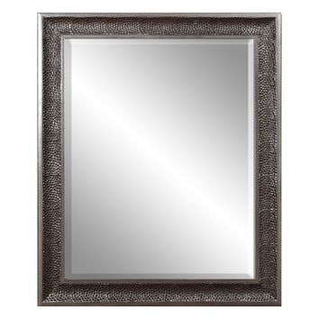 Belle Maison Pewter Stamped Pebble Wall Mirror (Pebble/Pewter)