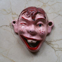 Vintage Cast Iron Howdy Doody Bottle Opener Wall Mounted