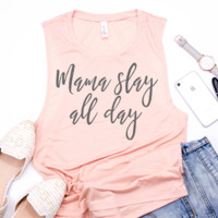 Mama Slay All Day Muscle Tank - Peach w/ Dark Gray Print
