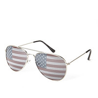 FOREVER 21 Old Glory Aviator Sunglasses Silver/Multi One