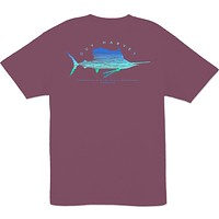 Sailfish Scribble T-Shirt in Plum by Guy Harvey - FINAL SALE