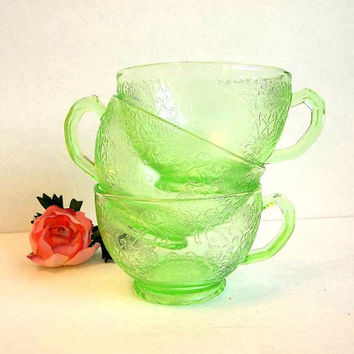 Antique 1930's one Florentine Poppy no. 1 Hazel Atlas Green Depression Glass teacup, tea cup, vintage tea party, replacement