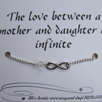Infinity Chain Charm Bracelet with Crystal - Mothers Day Gift - Family Love