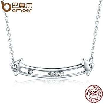 100% Genuine 925 Sterling Silver Sliding Love in Arrow Pendant Necklaces for Women Necklace Jewelry Bijoux SCN086