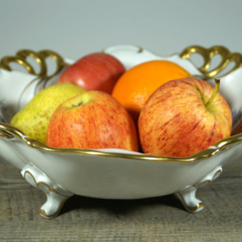Vintage Fruit Bowls, Porcelain Bowl, China Bowls, China Dish, Rare Vintage Bowls, Unique Bowl, Fruit Serving Bowl, JLMENAU, Germany