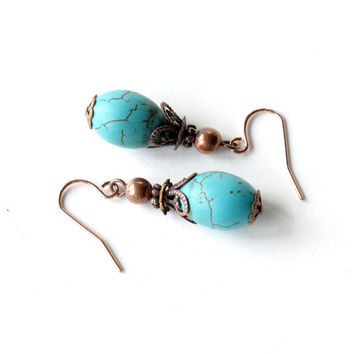 Turquoise dangle earrings - stone and copper