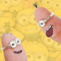 Despicable Me Minion 925 Silver Platinum Plated With Zircon Rings