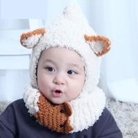 Cute Baby Beanie Hats & Scarf Set Lovely Warm Hats Scarves