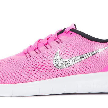 Women's Nike Free 5.0 RN - Customized with Swarovski Crystals Pink
