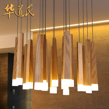 China'S Lighting Designer Personality Simple Living Room Dining Room Light Wood Logs Art Lamp Chandelier