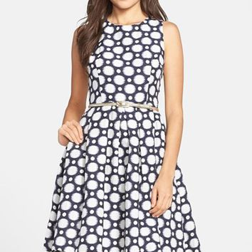 Petite Women's Eliza J Belted Jacquard Fit & Flare Dress