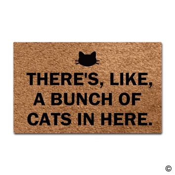 Autumn Fall welcome door mat doormat Entrance Floor Mat Funny  There's, Like, A Bunch Of Cats In Here  Outdoor In  Top Rubber Back AT_76_7
