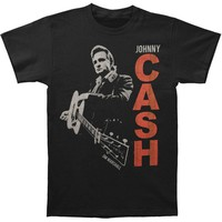 Johnny Cash Men's  Guitar Slinger Vintage T-shirt Black