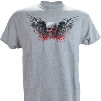 Skull, Guns & Knifes on a Sport Grey T Shirt