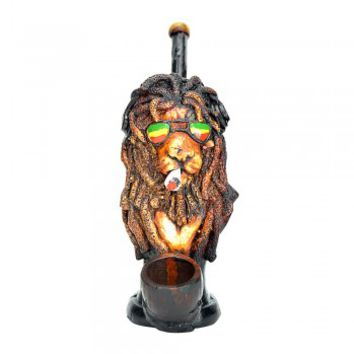 RASTA LION WOOD PIPE 6""