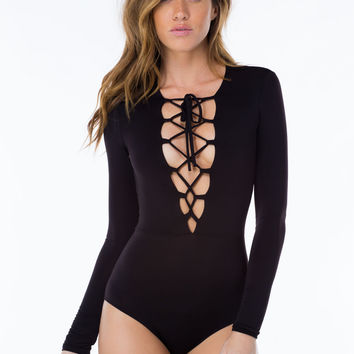 Black Lace Up Bodysuit – Shop Notice