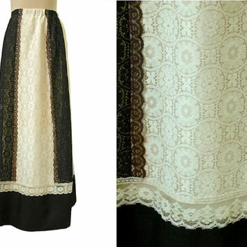 Tumbleweeds Skirt - 70's Vintage Maxi Skirt - Black And Cream Lace - Square Dance Boho Prairie - Victorian Gothic Steampunk