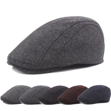 Mens Winter Warm Wool Fur Solid Beret Caps Adjustable Ivy Hat Golf Hunting Driving Cabbie Hat