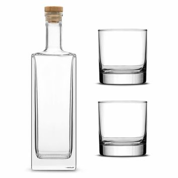Custom Etched Refillable Liberty Bottle with Set of 2 Custom Whiskey Glasses